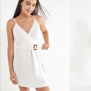 NWT Urban Outfitters Amanda Linen Wrap Dress White